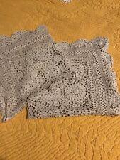 Two Vintage Beige Cotton crochet small tablecloth  42 / 42 cm