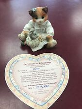 "1994 Enesco Calico Kittens ""Your Patchwork Charm Shows Through� 129453 W/Cert"