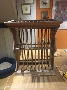 vintage wooden plate rack