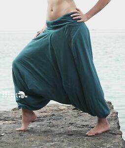 Warm Harem Pants Winter Fleece Lined Plain Teal Blue Cotton Hippie Festival