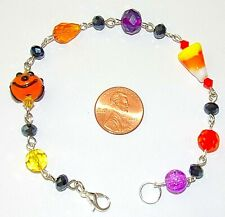 HALLOWEEN/FALL/AUTUMN BRACELET-CANDY CORN- LAMPWORK/CRYSTAL-HANDCRAFTED-#835