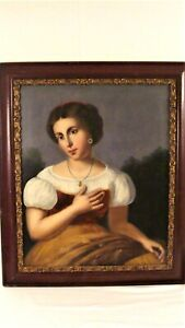 Antique 19C Portrait of Woman in Puffy Dress Painting