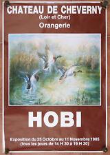 Affiche ancienne Exposition peintre HOBI vintage poster château de Cheverny Art