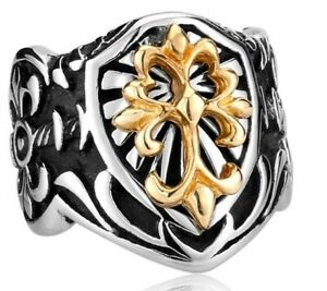 Edelstahl Ring Fleur de Lys Royal Lilien Gothic Templer Kreuz Malta Wicca Satan
