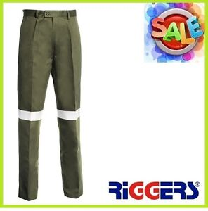 3 x RIGGERS Cotton Drill Work Trousers Pants Reflective Tape Khaki Wholesale