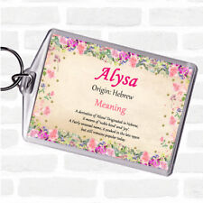 Alysa Name Meaning Bag Tag Keychain Keyring  Floral