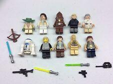 LEGO lot of 10 Star Wars Good Guy Minifigs Yoda Luke Leia Han R2-D2 Obi D475B