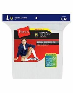 Hanes Men's Fresh IQ™ Over the Calf Tube Socks 6-Pack White 6-12