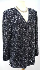 SCALA Sequin GORGEOUS Party HOLIDAY evening Beaded Top Blouse Tunic SILK M L VTG