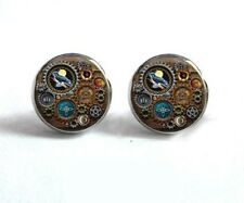 Steampunk  Brass Stud  Earrings,Glass Cabochon Retro Gift   GIFT BOXED