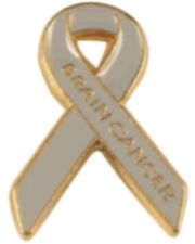 Brain Cancer Pin Awareness Gray Ribbon Gold Letters Cloisonne Lapel Tac New