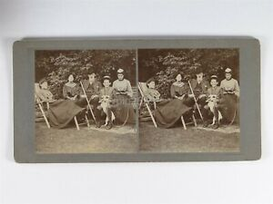 Family Including Boy On Dicycle 4 Wheel Bicycle - c1900s Stereoview