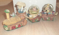 Mini Snow Globe Train Lot of 3 Three Bears Engine Cars Easter Vintage