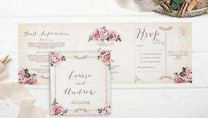 Rustic Wedding Invitation - Floral Ivory Double-Folded