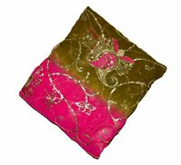 """VINTAGE INDIAN DUPATTA LONG HIJAB SCARF FLORAL BEADED EMBROIDERE VEIL STOLE L"""""""
