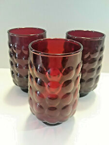 RUBY RED VINTAGE BUBBLE GLASS 3 SMALL  6 OZ JUICE GLASSES