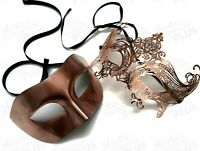 Couple Rose Gold Masquerade eye mask Dress up party School Costume Dance Prom