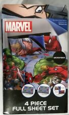 NEW MARVEL FULL BED SET 1 FITTED 1 FLAT SHEET 2 PILLOWCASE AVENGERS SPIDERMAN #1