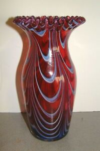 Antique English Nailsea Glass Cranberry Red, Blue, & White Vase