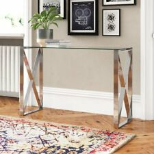 Glass Console Table Hallway Furniture Living Room Modern Silver Metal Frame New