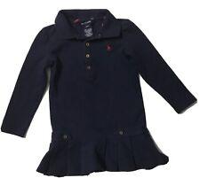 Ralph Lauren Polo Shirt Dress Long Sleeve Navy Blue Stretch Girls Size 3 Pleats