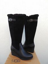 UGG MISCHA BLACK WP LEATHER/ SHEEPSKIN WEDGE RAIN BOOTS, US 7/ EUR 38 ~NEW
