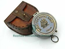 "Memorabilia Brass Compass ""Made For Royal Navy London"" Compass With Handmade Lea"