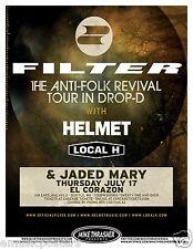 "Filter/Helmet/Local H ""Anti-Folk Revival Tour"" 2014 Seattle Concert Tour Poster"