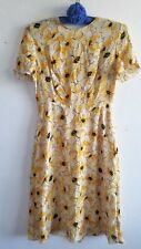Hugo Buscati Yellow Floral A-Line Dress Size 6