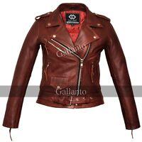 Classic Ladies Red Marlon Brando Motorcycle Fashion Biker Vintage Leather Jacket
