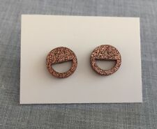 Bronze Glitter Stud Earrings, Laser Cut Acrylic, Circle Cut Out, Surgical Steel