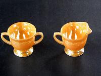 Anchorglass ~ Fire King ~ Laurel Golden Peach Lustre ~Creamer & Sugar Bowl Set