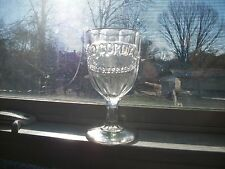 FANCY PANELED STEM DRINKING GLASS OKO CORDIAL REFRESHING IT ENRICHES THE BLOOD