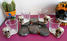 Set of 4 Glass Skull Shot Glasses With Display Stand Gothic Gift Present Unique