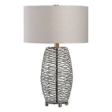 Wavy Lines Silver Bronze Cylinder Table Lamp | Open Metal Cage Rustic MidCentury