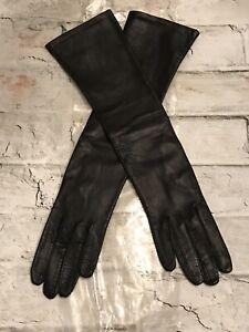 "VTG Black Washable Kid Leather Silk Lining Elbow 15""L Glove Sz 6.5 Belgium NEW!"