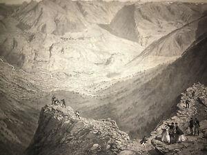 PANORAMA ENTECADE Pyrenees LITHOGRAPHIE Eugene Ciceri ESPAGNE Villamas 1860