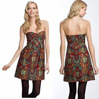 $328 Nanette Lepore Kharma Gold Red Metallic Silk Jacquard Print Dress size 6