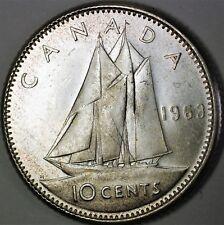 1963 Canada Silver Dime 10 Cents BU Queen Elizabeth II Ship Coin
