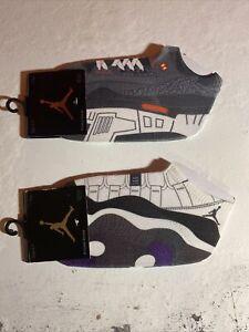 NEW 2011 Retro Jordan 2 pair lot kids shoe sock size 5-7 Concord 11 and cement 3