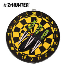 "NEW! Z-Hunter 6.5"", 3-Pc. Zombie Dart Throwing Knife Set with Target Board"