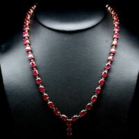 "NATURAL 6 X 8 mm. OVAL BLOOD RED RUBY NECKLACE 20"" 925 STERLING SILVER"
