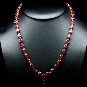 """NATURAL 6 X 8 mm. OVAL BLOOD RED RUBY NECKLACE 20"""" 925 STERLING SILVER"""