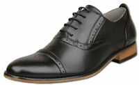 Mens Brand New Black Leather Lined Capped Brogue Shoes Size 6 7 8 9 10 11 12