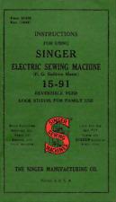 Singer 15-91 Sewing Machine Instruction Manual