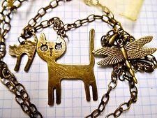 Bronze Pendant Necklace Cat Charm 80cm large Link Chain + organza bag Steampunk