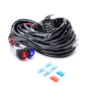 180W 2-Circuit LED Light Bar Wire Harness Fuse 40A Relay Dual Waterproof switch