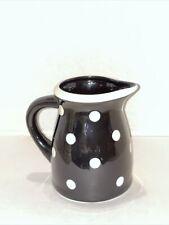 """Terramoto Two Large Black & White Polka Dot 7"""" Pitcher - Euc...!!!"""