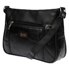 Leder Tasche Damentasche Handtasche Schultertasche Ledertasche Schwarz Shopper