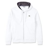 Lacoste White/Pitch Sport Full Zip Brushed Fleece Hoodie